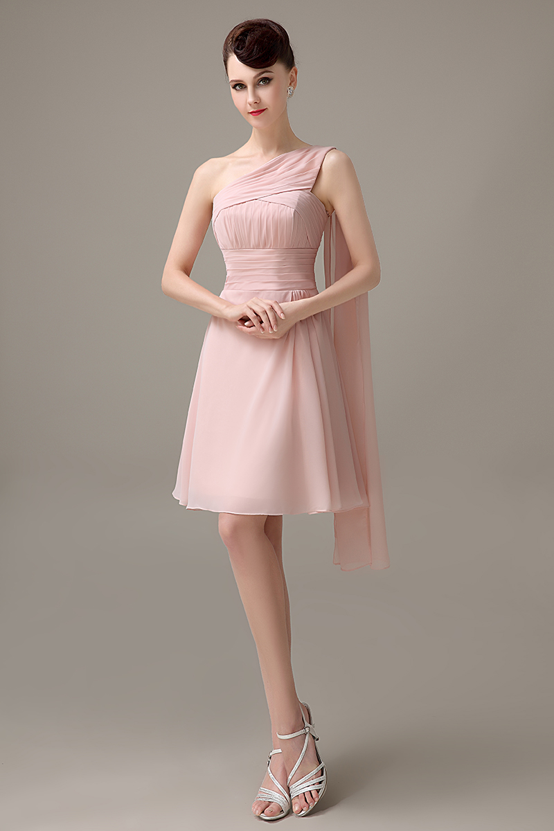 Blush Pink Chiffon Short One Shoulder Bridesmaid Dress Simple Junior Customized For S Bd431 In Dresses From Weddings