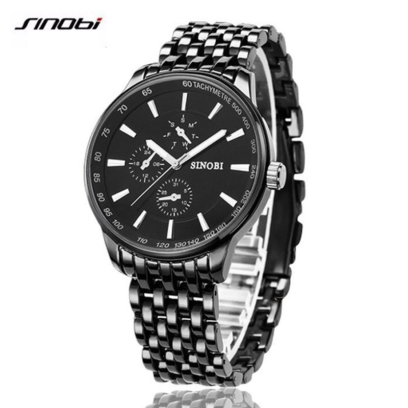 SINOBI watch men s quartz watch luxury brand men s steel casual watch waterproof clock men