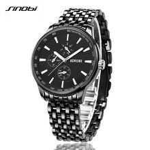 SINOBI montre hommes de quartz montre en acier de marque de luxe hommes occasionnels montre étanche horloge hommes de montre Relogio Masculino