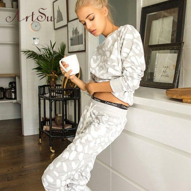 Artsu 2017 Autumn Women 2-Piece Sets Suit Tracksuit Trousers Long-Sleeved Casual Printed Lady Pants Two-Piece Suits ASSU20000