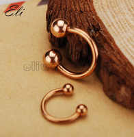 Retail 14G 16G Plated Rose Gold Fashion Body Jewelry Circular Barbell Nose Nostril CBR Eyebrow Ring Piercing