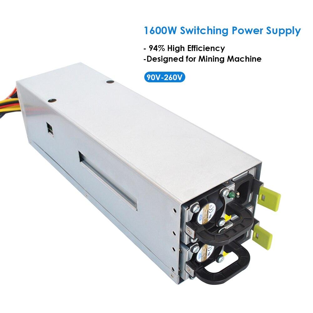 1600 W Fuentes de alimentación conmutada 94% de alta eficiencia para ASIC antminer L3 ethereum S9 S7 L3 Rig máquina minera bitman bitcoin PC