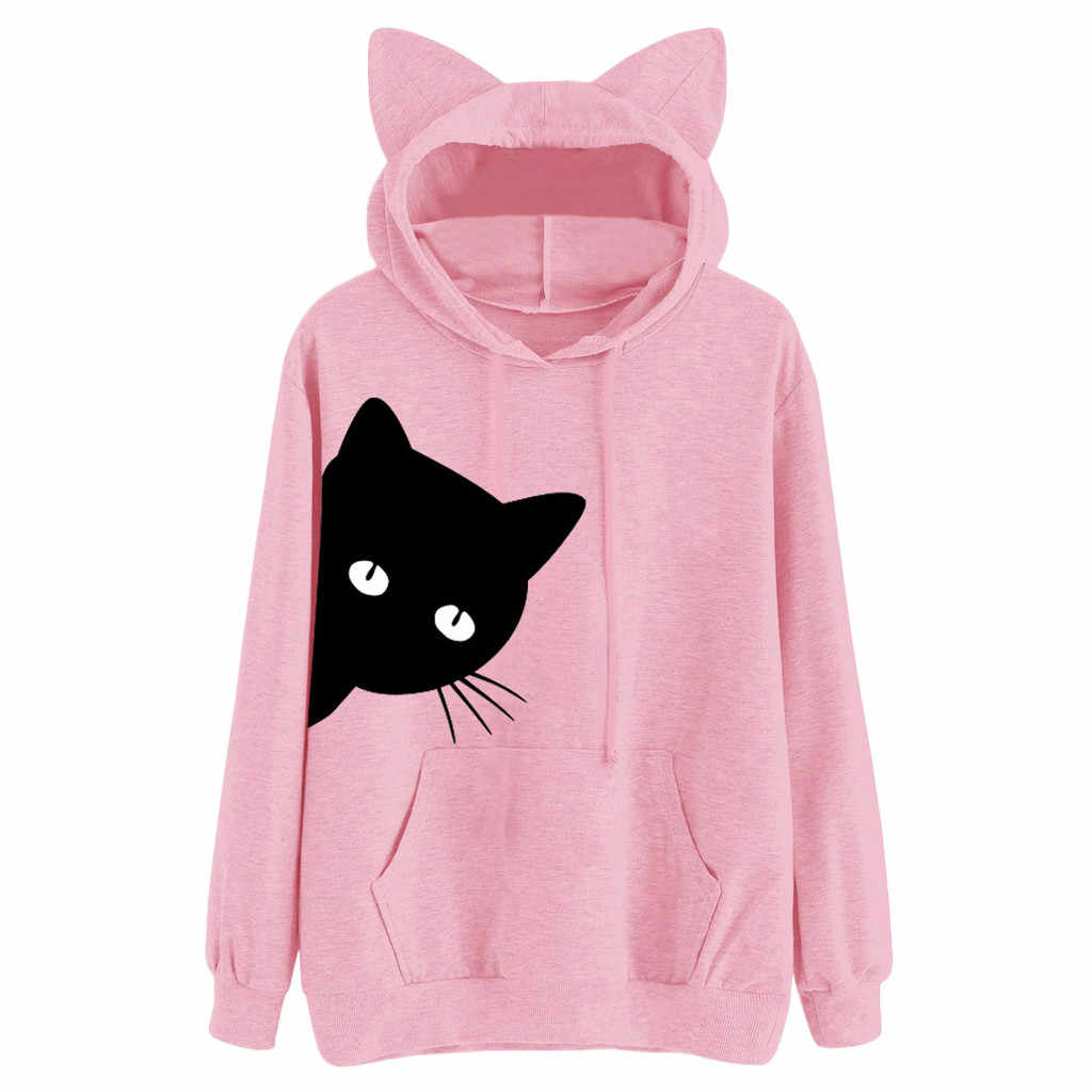 Dropship Fashion Womens Blouse Print Long Sleeve Cat Hoodie Hooded Tops Sweatshirt Hooded Pullover Blouse 0309