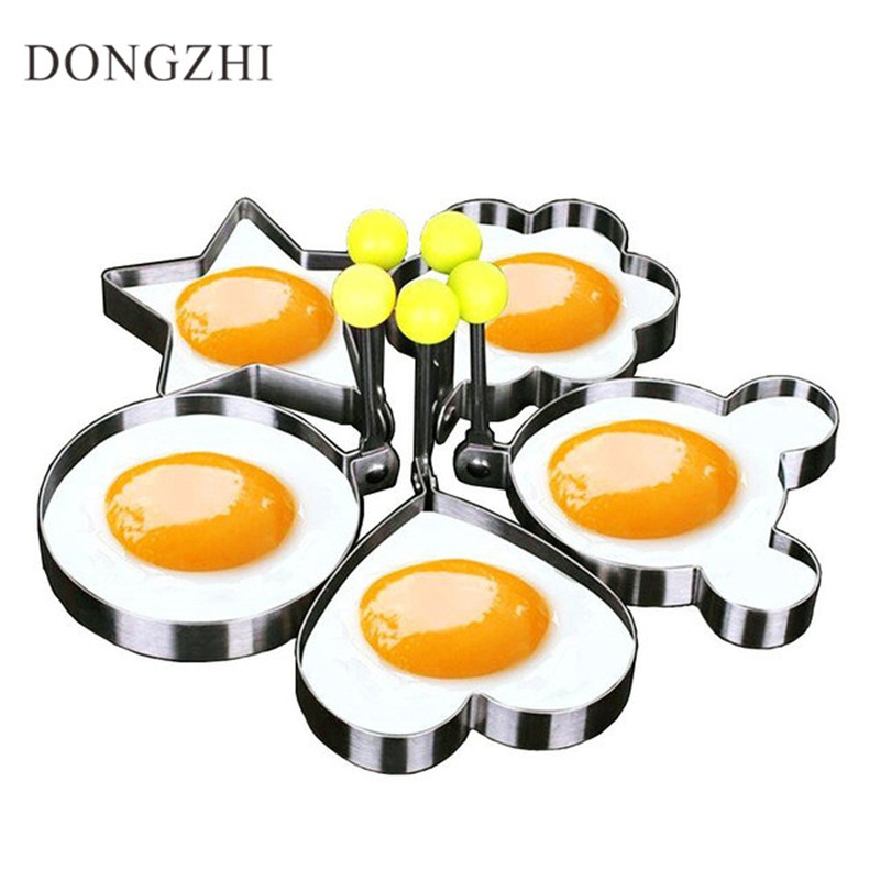 DONGZHI 5pcs/Set Egg & Pancake Rings Stainless Steel Cute Shaped Fried Egg Mold Creative Egg Tools For Kitchen Cooking CK0002