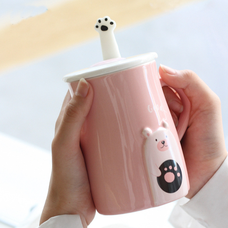 Cute cartoon bear mug embossed ceramic mug with lid and spoon creative office water animal cup couple mug milk coffee cup gift
