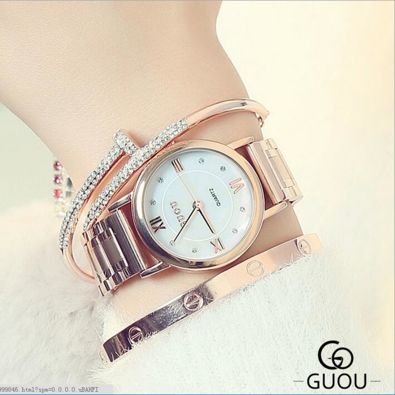 GUOU Brand Luxury Crystal Wrist Watch Women Watches Fashion Rose Gold Women's Watches Clock saat relogio feminino reloj mujer brand kimio reloj mujer fashion women pearl bracelet watches crystal dial quartz watch gold women watches relogio feminino clock