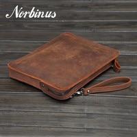 Norbinus Men Genuine leather Handbag Vintage Messenger Shoulder Crossody Bags Tablet PC Laptop Bag Clutch Business Briefcase