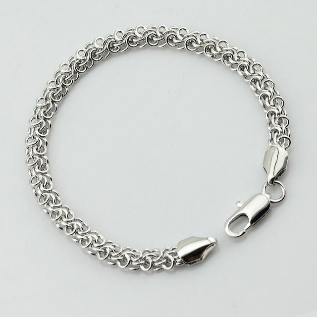 1pcs 5mm Width Curb Rolo Men Bracelet Women White Gold Color Link Chains Hand Bracelets