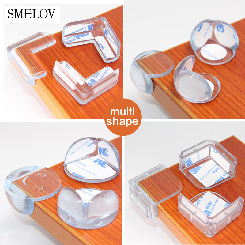 4pcs Child Baby Safety L Square Round Table Corner Protector Transparent Anti-Collision Angle Protection Cover Edge Corner Guard