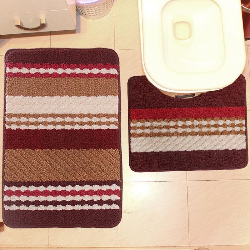 2 PCS Engrossar Banheiro Bath Mat Anti Slip Tapete Teste Padrão Da Listra Pedestal Chuveiro Tapete Almofada Tapete 5 Cores Não-Deslizamento De Banho Tapete Higiênico