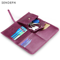 Sendefn Ultrathin Genuine Leather Women Wallets Long Lady Purse Wallet Female Card Holder Phone Coin Pocket