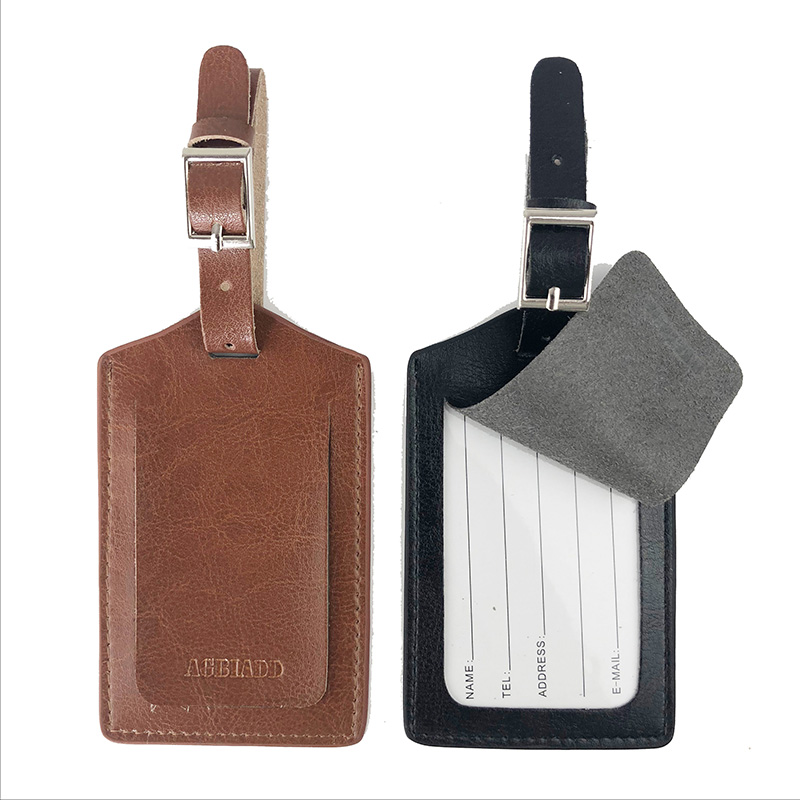 Luggage Tags Leather Bag Tags Unisex 718-40 Travel Accessories Suitcase ID Address Holder Baggage Boarding Tag Portable Label