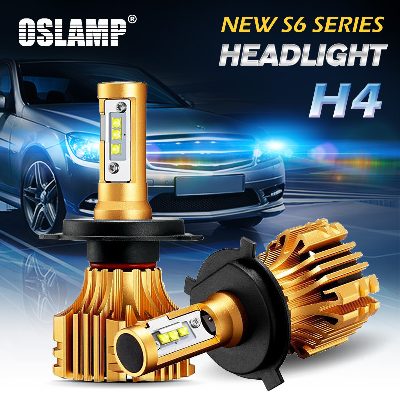 Oslamp 2pcs Hi-Lo Beam H4 LED Car Headlight Kits 6500K White SMD Chips 7000LM 70W Super Bright Auto Front Bulbs Led Car Light starry pattern gold plated alloy rhinestone stud earrings for women pink pair