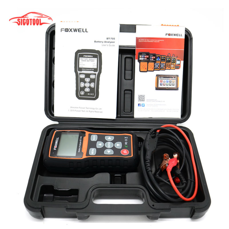 Free Shipping Foxwell BT705 BT-705 12 Volt Battery Analyzer Tester Directly Detect Bad Car Cell Battery