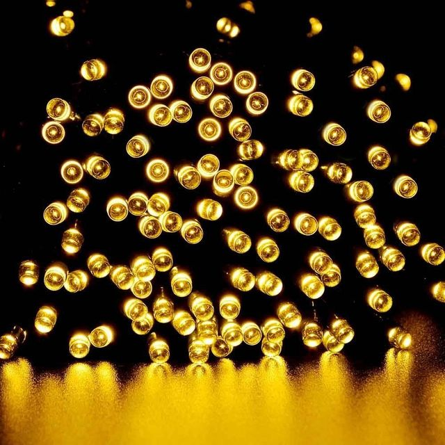 Warm White Solar Garden Fairy Lights: 100 LED Outdoor Warm White Solar Lamps LED String Lights