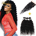Brazilian Deep Wave With Closure 3pcs/lot Hair Bundles With Lace Closures Brazilian Deep Curly Virgin Hair Febay Closure Hair