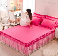 Princess Lace Bedspreads Fitted Sheet 1/3pcs Solid Color Bedding Bed Skirt Pillowcases Girls Ruffles Mattress cover Home Textile