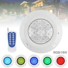 18 LED 12V 18W RGB LED RGB Swimming Pool Light 3000K Remote Control Wall-mounted Waterproof Light Underwater for Swimming Pool small power 25w 351pcs rgb par56 led swimming pool light smd 12v led underwater light with remote control free shipping