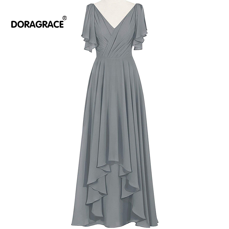 Robe élégante Doragrace de festa longo manches chauve-souris col en v en mousseline de soie longue robe mère des robes de mariée