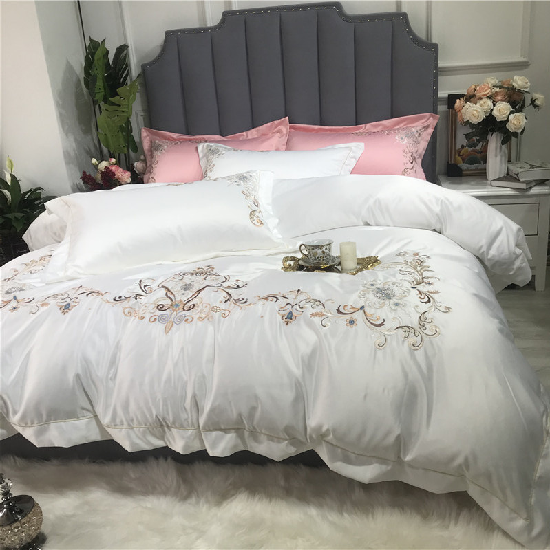 Luxury European Style White Red Pink Green Gray Washed Silk Cotton Embroidery Bedding Set Duvet Cover Bed sheet Linen Pillowcase in Bedding Sets from Home Garden