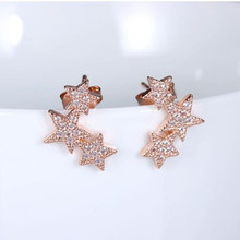 TJP Top Quality 925 Sterling Silver Earrings For Women Jewelry Lady Fashion Rose Gold Crystal Star Stud Earrings Girl Christmas