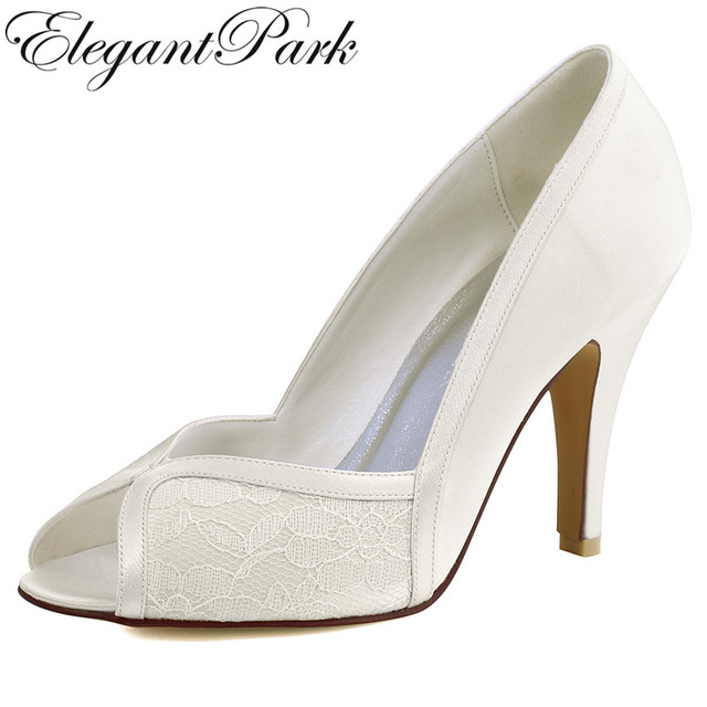 Shoes Woman HP1617 White Ivory Peep Toe High Heel Lady Bride Satin Lace Wedding Bridal