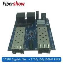 Gigabit Ethernet fiber switch 2 RJ45 UTP SFP Fiber Optical Media Converter 2SC 2RJ45 10/100/1000M PCB