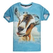 New Fashion Men/Women 3D T Shirts Pirnt Goat Head Graphic Blue Short Sleeve T-shirt Summer Causal Tees Tops Comfortable Clothing
