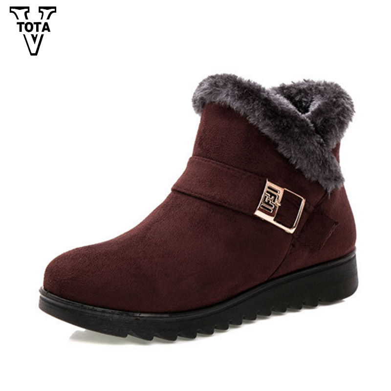 VTOTA Classic Snow Boots Winter Shoes for Women Fur Comfortable Ankle Women Boots women shoes Mujer Botas Buckle Heel 3CM OHXY1 2016 rhinestone sheepskin women snow boots with fur flat platform ankle winter boots ladies australia boots bottine femme botas