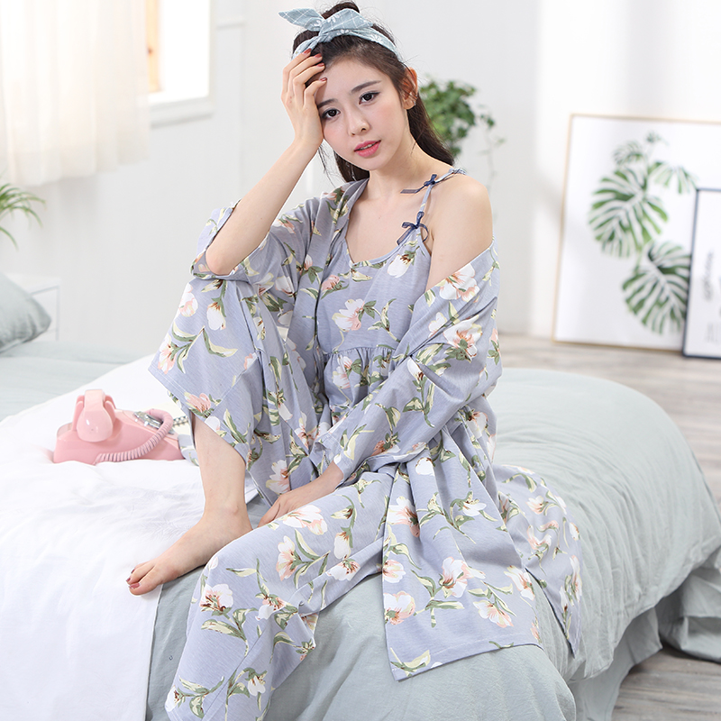 7c8dc9fb80 3 pieces tops + trousers + robe summer pajamas sets women 100% cotton  floral print sexy spring long sleeve home Lounge Gift