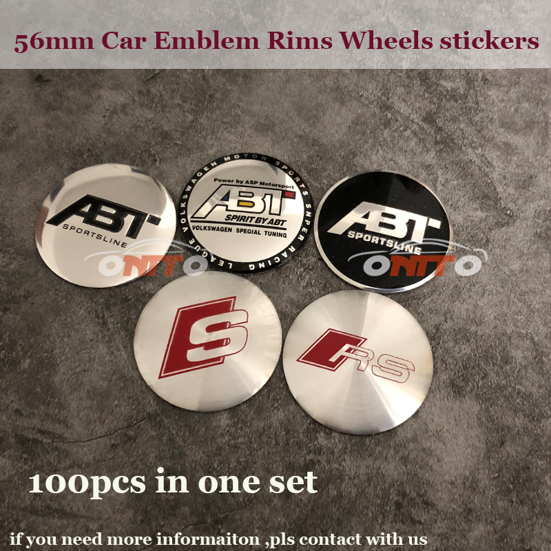 Car Wheel hub Stickers For Audi Buick Volvo Honda Car accessories Modified 4PCS/LOT 56MM ABT S RS logo Badge Emblem Rims Caps