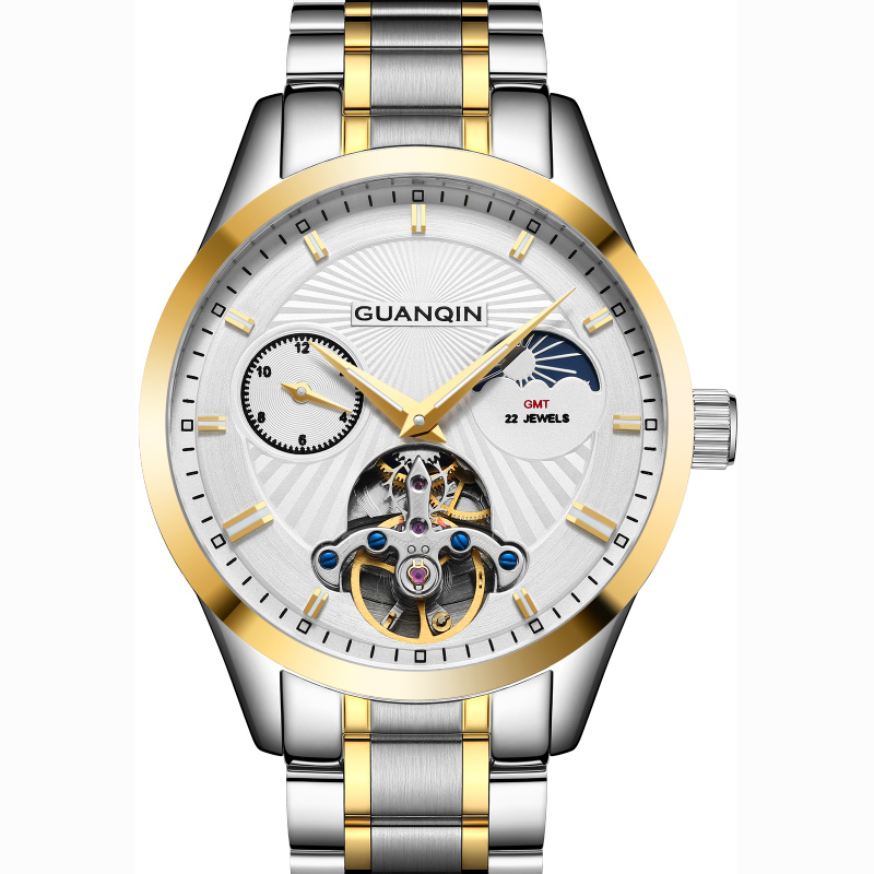 GUANQIN Automatic Watch Men Moon Phase Mechanical Watches Top Brand Luxury Waterproof Hollow Clock Wristwatch reloj hombre GUANQIN Automatic Watch Men Moon Phase Mechanical Watches Top Brand Luxury Waterproof Hollow Clock Wristwatch reloj hombre