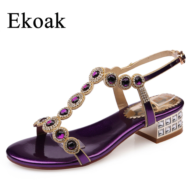 Ekoak Size 35-43 New 2017 Summer Rhinestone Women Sandals Ladies Sexy Party Shoes Fashion T-Strap Med Heel Women Shoes
