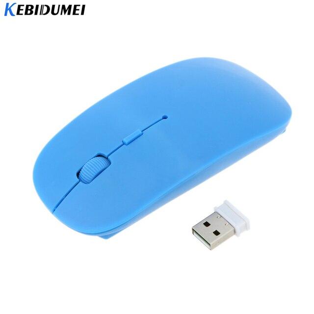 Kebidumei USB 2.4 جيجا هرتز رقيقة جدا ماوس لاسلكي الألعاب البصرية سليم استقبال ل أبل ماك محمول السلطة التبديل الكمبيوتر الفئران