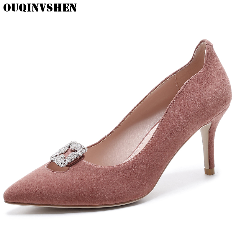 OUQINVSHEN Crystal Pointed Toe Pumps Casual Fashion Shallow High Heels Women Pumps Sexy Thin Heels Ladies Stiletto heel Pumps ouqinvshen pointed toe high heels bling shallow women pumps new thin heels single shoes casual fashion stiletto heel high heels