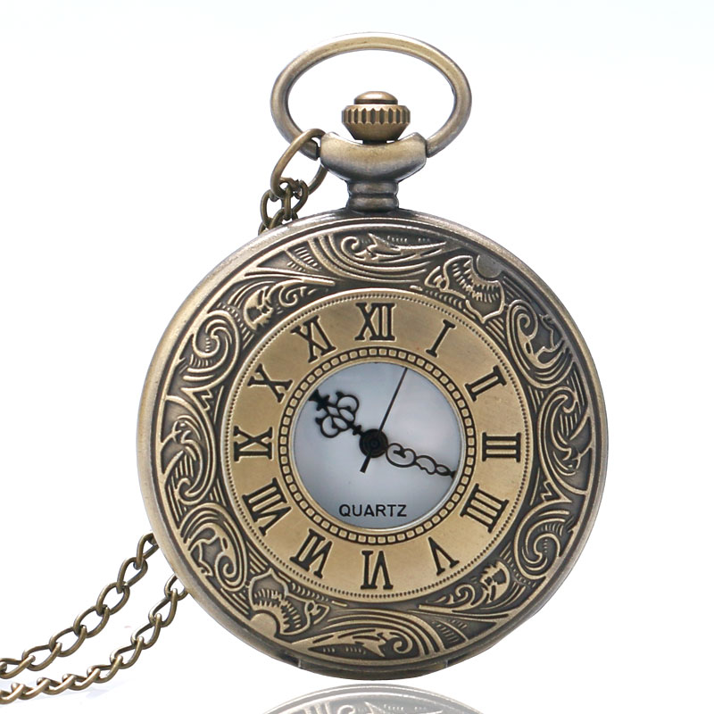 Steampunk Vintage Bronze Roman Number Carved Case Antique Retro Quartz Pocket Watch Long Necklace Pendant Chain Men Women Gift