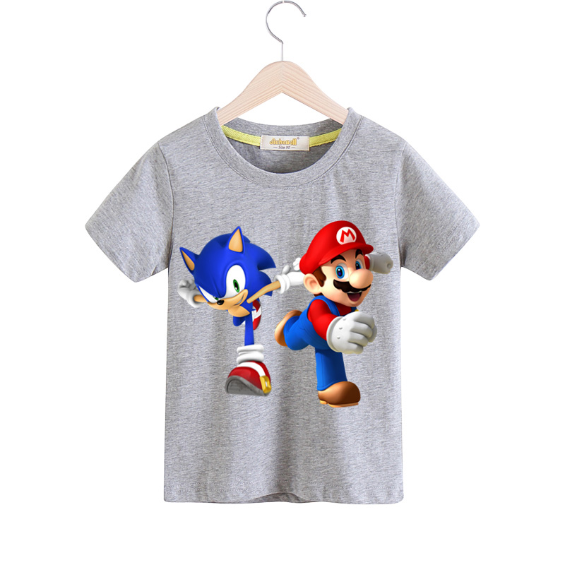 585add01 Kids 3D Cartoon Funny Mario Print Tees Top Clothes Children Summer Clothing  Baby Cotton Casual T
