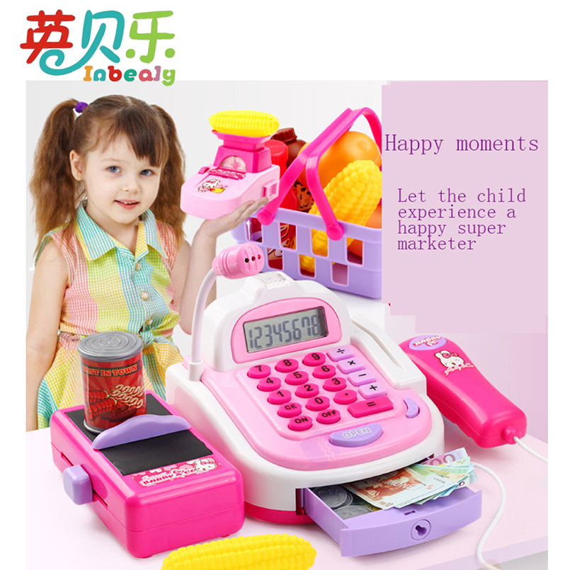 Pretend Play Simulation Electronic Supermarket Cash Register Machine Toys Educational Miniature Furniture Toys For Girl Gifts 2018 new disney mickey series supermarket child car play toys simulation child play house toys trolley set birthday gifts