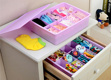 1 10 15 Grid Plastic Underwear Storage Box Organizer Box Bag Cosmetic Divider For Cloth Socks Ties Bra Print Container