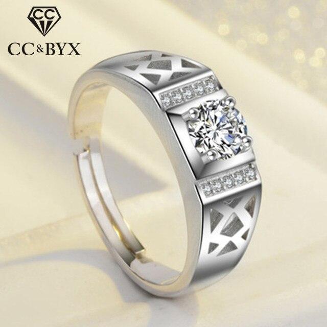 CC s925 plata Anillos para hombres hueco ajustable Caballero Love Promise  anillo de compromiso novio boda d8bf48f944d