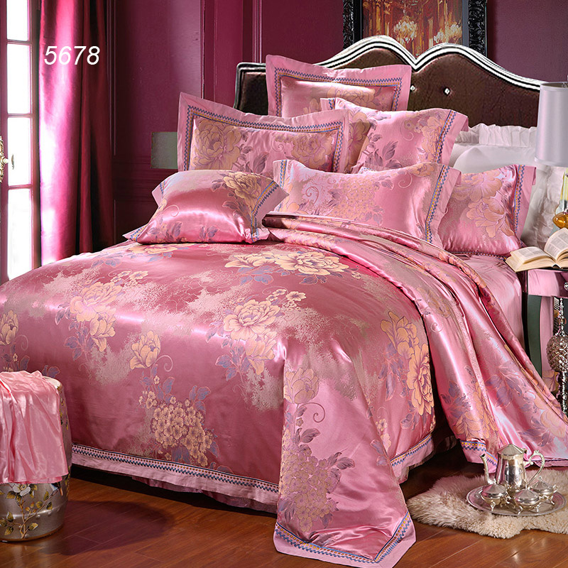 Light Cherry Red Pink Silk Bedding Set Tencel Floral Bed