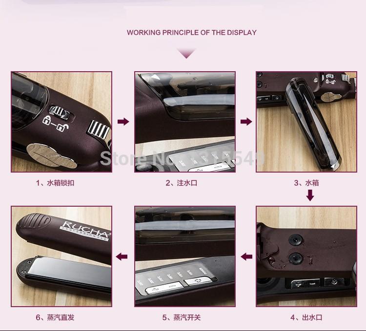 CHJ Steam Hair Straightener Ceramic Flat Iron Vapor Plate Wet/Dry Straightening Iron Ferro Hair Iron Steamer Styling Tool 13