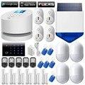 WiFi GSM PSTN home burglar Security Alarm System+Wireless solar outdoor strobe siren+6 door open remind sensor+RFID keypad