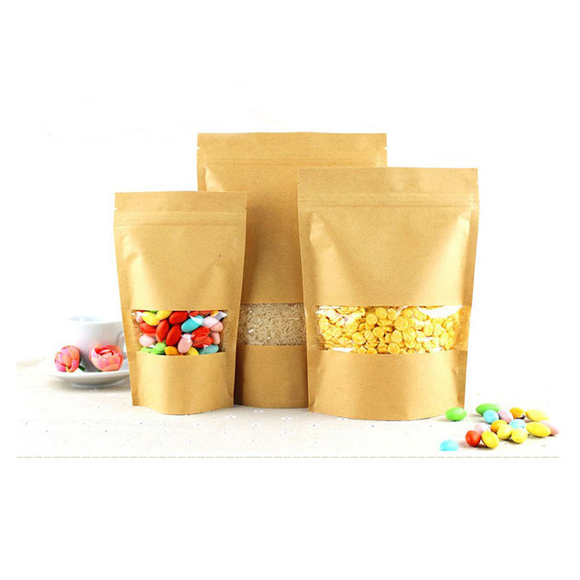 100pcs Brown Gift Bag Paper Kraft Bag With Window For Wedding/Candy/Tea/Food Kraft Bags Crafts Stand Up Ziplock Packing Bags Diy