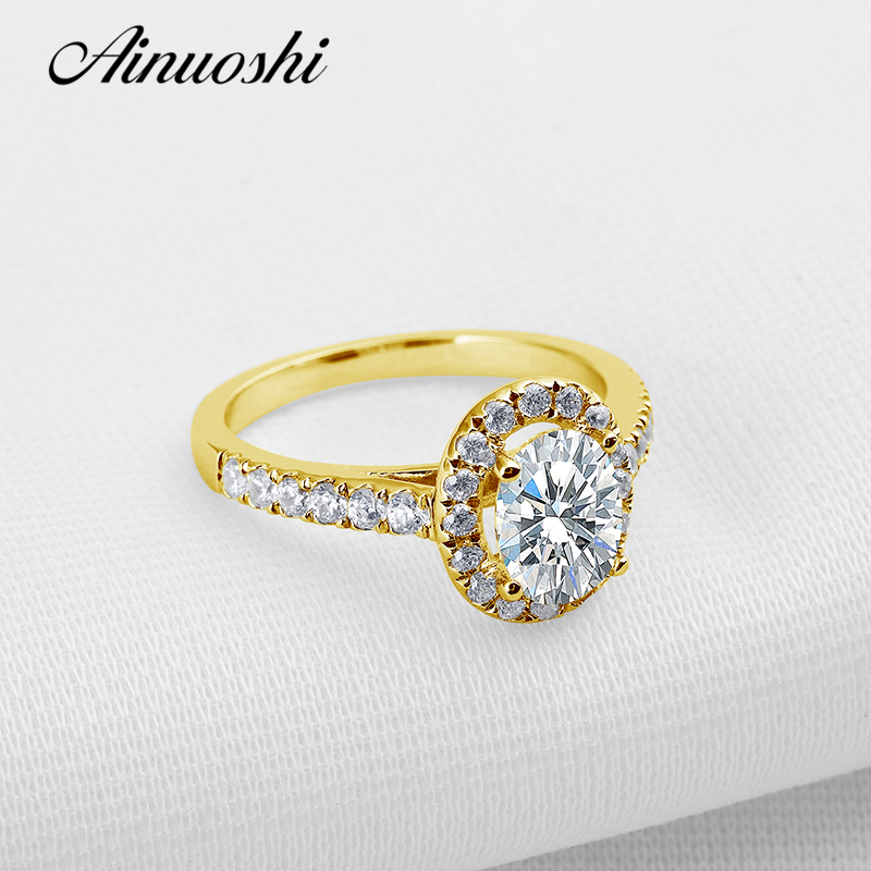 AINUOSHI Classic Oval Halo Gold Ring 14K Solid Gold Pave Setting Band 1.25 CT Lab Grown Diamond Women Wedding Engagement Rings