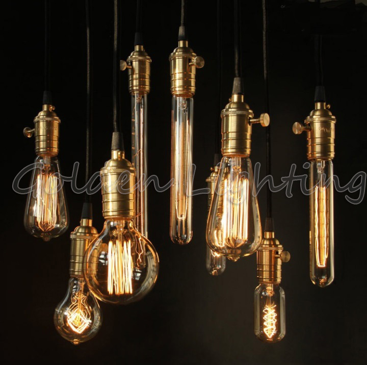 LED Edison Bulb Vintage Retro DIY E27 Spiral Incandescent Light Handmade Fixtures Glass 40W 110-240V Pendant Lamps - Golden lighting Online Store 409246 store