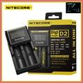 Nitecore d2 original display lcd 18650 carregador de bateria universal para 16340 26650 aa aaa recarregável li-ion baterias de carregamento