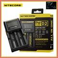 Original nitecore d2 pantalla lcd 18650 cargador de batería universal para 16340 26650 aa aaa recargable de li-ion baterías de carga