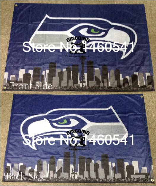 5fce93e70 Seattle Seahawks with Seattle City Skyline Flag 3ft x 5ft Polyester NFL  Seattle Seahawks Banner Flying Size No.4