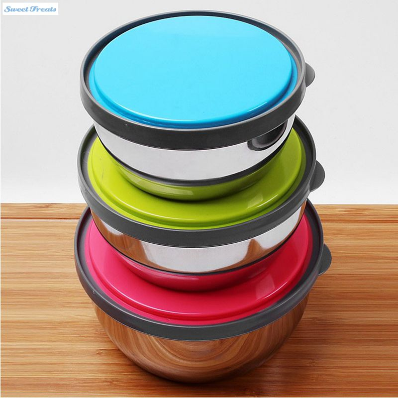 stainless steel mixing or food bowl set with lids with bright color silicone lids set of 3. Black Bedroom Furniture Sets. Home Design Ideas